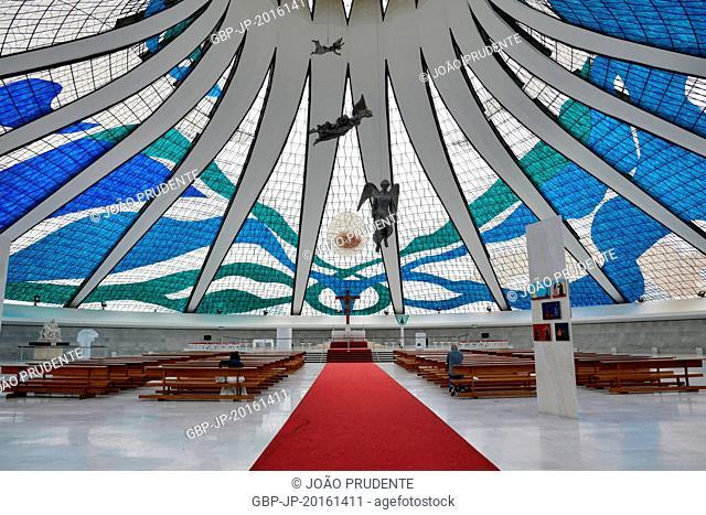 Inside view of the Metropolitan Cathedral of Our Lady Aparecida, Brasília, Federal District, Brazil, 03.2015