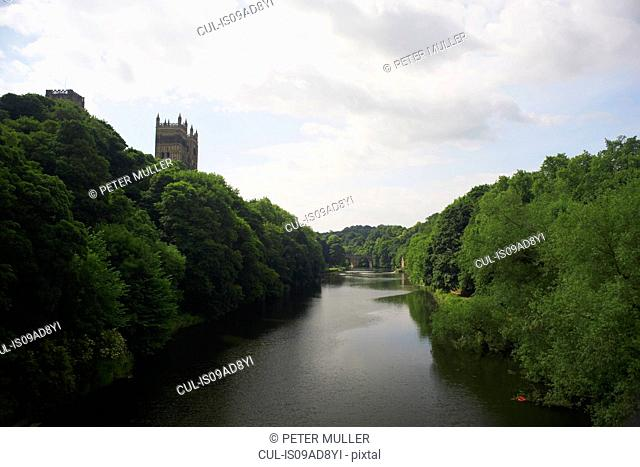 View of river wear and Durham cathedral, United Kingdom