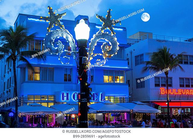 CHRISTMAS DECORATIONS STREET LAMP HOTELS OCEAN DRIVE SOUTH BEACH MIAMI BEACH FLORIDA USA