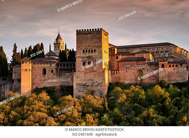 Alhambra of Granada in the warm light of sunset, Andalusia, Spain