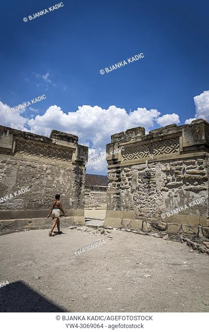 Mitla, pre-columbian archeological site of the Zapotec culture, Church Group of structures or North Group of structures, Oaxaca, Mexico