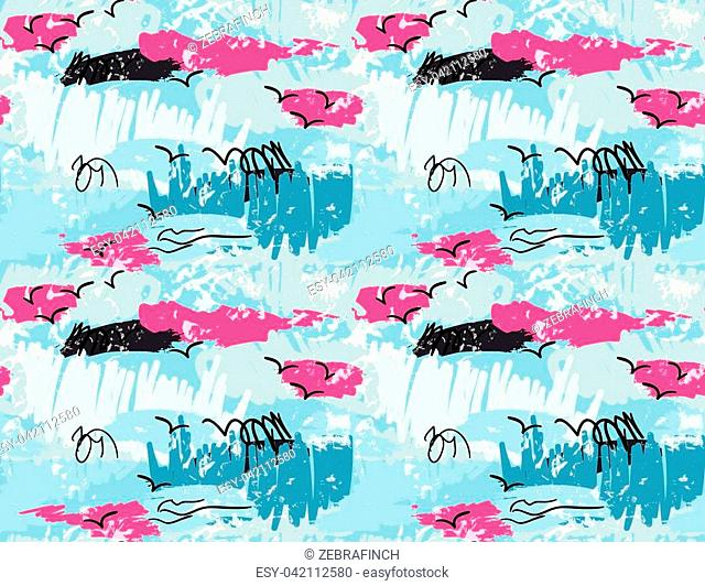Abstract scribbles blue pink with grunge.Hand drawn with ink and marker brush seamless background