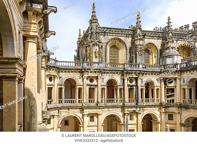 The Cloister of John III and the Manueline nave of Convent of Christ, Tomar, Santarem District, Centro Region, Portugal, Europe