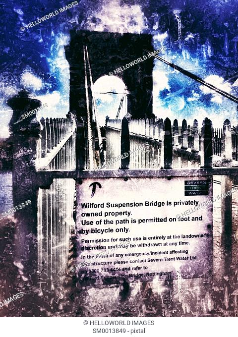 Grade 2 listed (1906) Wilford Suspension Bridge, Nottingham, Nottinghamshire, east Midlands, England