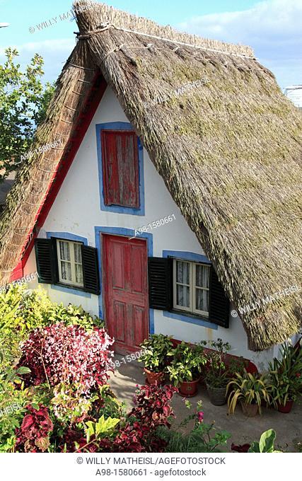 Traditional A-framed House at Santana, Madeira, Portugal, Europe