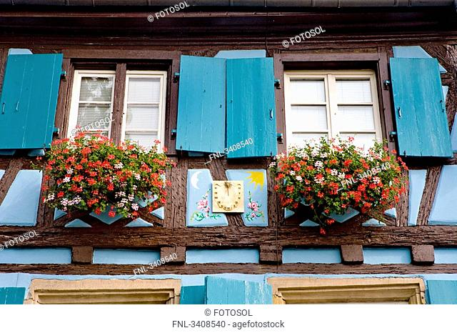 Windows of a house in Petite Venise, Colmar, France, low angle view