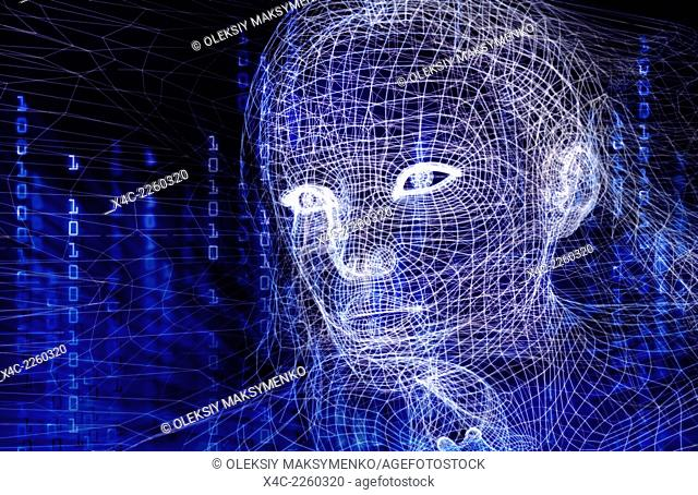 Woman digital wireframe face conceptual 3D illustration with binary code on dark blue background