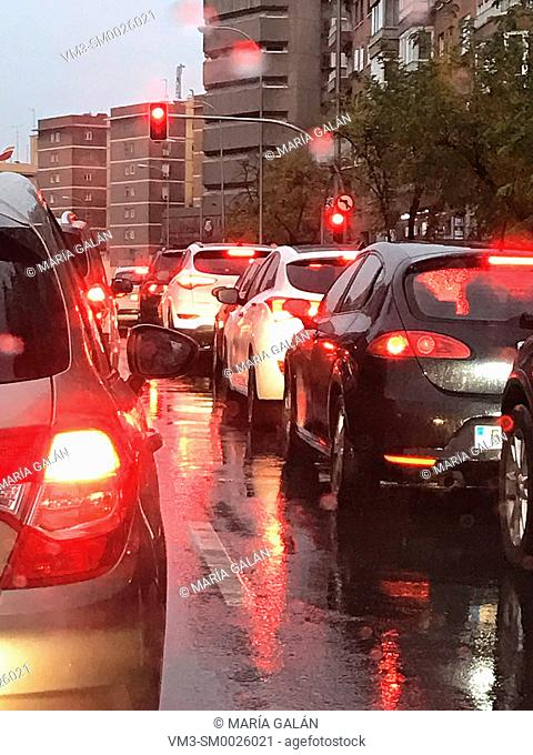 Traffic jam in a rainy day. Madrid, Spain