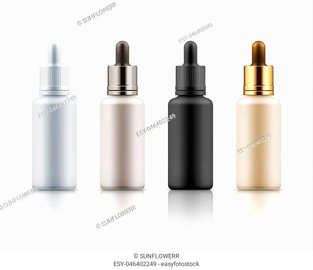 Set of realistic glass bottles with dropper. Cosmetic flask or vials for organic aroma oil, anti-aging essential, collagen serum for beauty