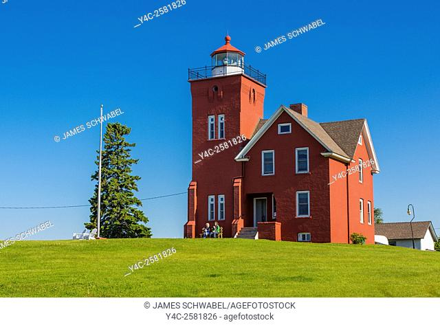 Historic Agate Bay or Two Harbors Light Station in Two Harbors Minnesota built in 1892 on the National Register of Historic Places