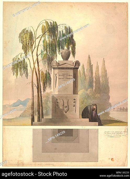 Design for a Tomb, Rothgeisser in Nuremberg (Elevation and Ground Plan). Artist: Johann Georg Dürschner (German, 19th century); Date: 1826; Medium: Pen and...