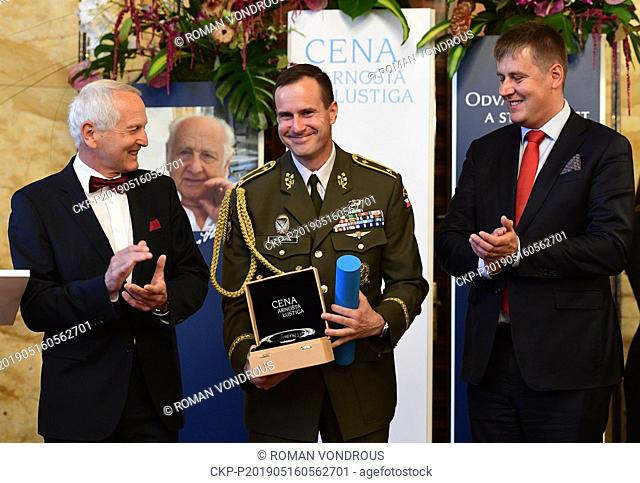 Czech General Karel Rehka, centre, a deputy head of the NATO Multinational Division North East, received the Arnost Lustig Prize for courage