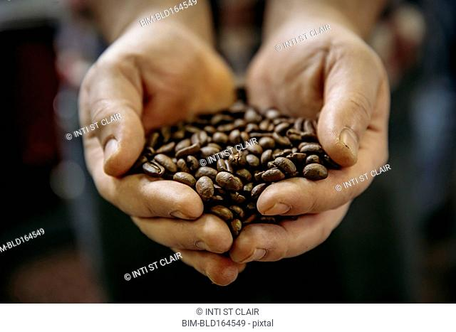 Close up of Caucasian man holding coffee beans