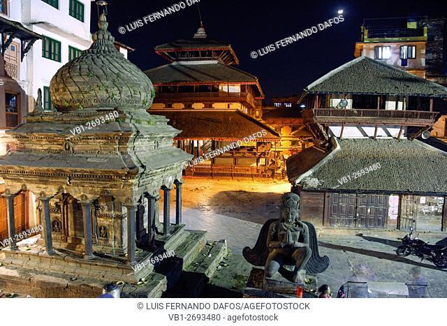 Durbar Square temples at night. Kathmandu, Nepal