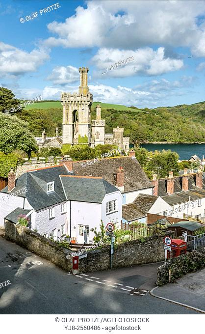 Scenic view over the old town of Fowey, Cornwall, England, UK