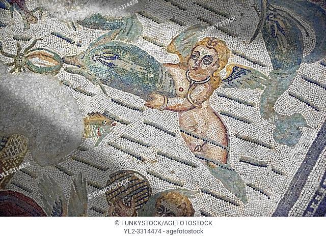 Cupids & dolphin Roman mosaic, room 24, at the Villa Romana del Casale, Sicily , circa the first quarter of the 4th century AD. Sicily, Italy