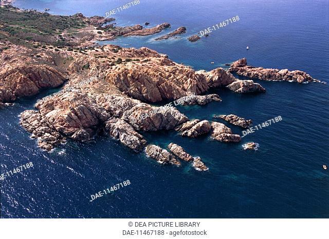 Aerial view of the coast near Isola Rossa, Frazione of Trinita' d'Agultu e Vignola - Province of Olbia-Tempio, Sardinia Region, Italy