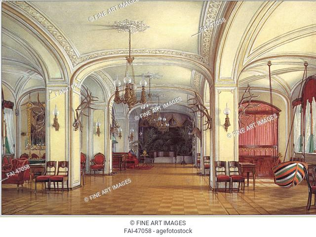 The Arsenal Hall at the Gatchina Palace by Hau, Eduard (1807-1887)/Watercolour and white colour on paper/Academic art/1876/Russia/State Open-air Museum Palace...