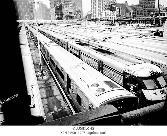 Commuter Trains Parked at the West Side Yards, New York City