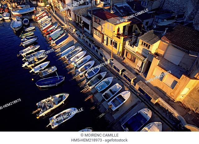 France, Bouches du Rhone, Marseille, Vallon des Auffes, the Cabanons