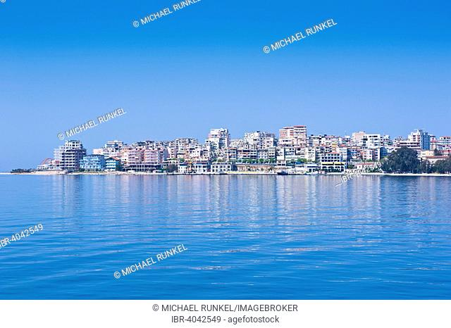 Waterfront of the coastal town of Sarande, Albania