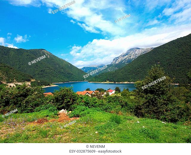 Beautiful view of high blue mountain lake