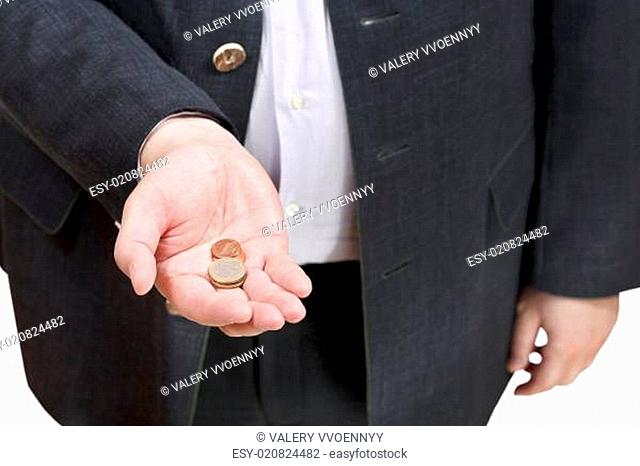 coins in businessman hand isolated
