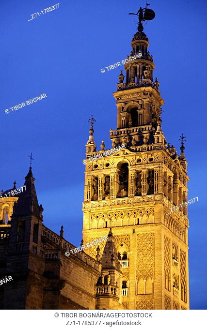 Spain, Andalusia, Seville, Cathedral, Giralda, night