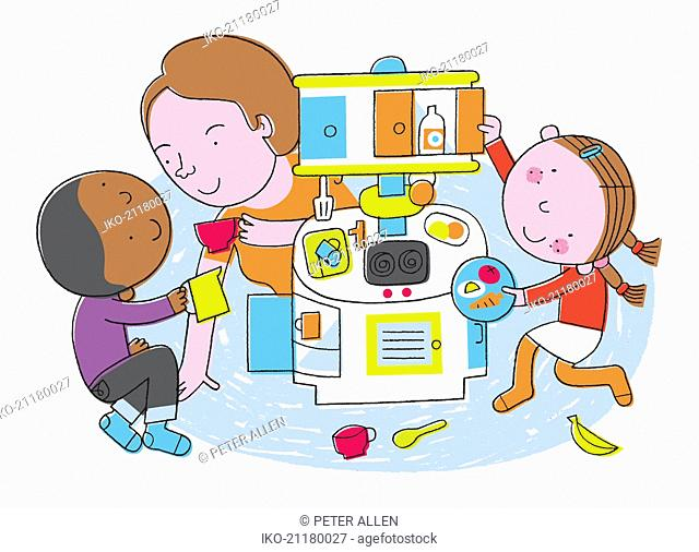 Nursery teacher and children playing with toy kitchen