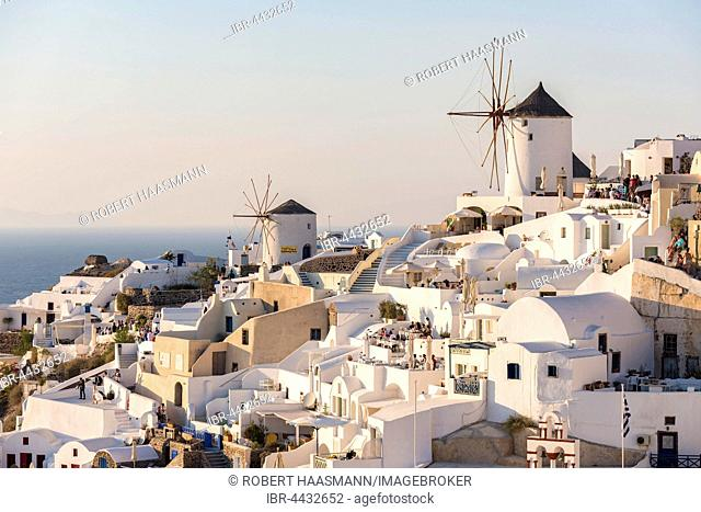Town, windmills, Oia, Santorini, Cyclades, Greece