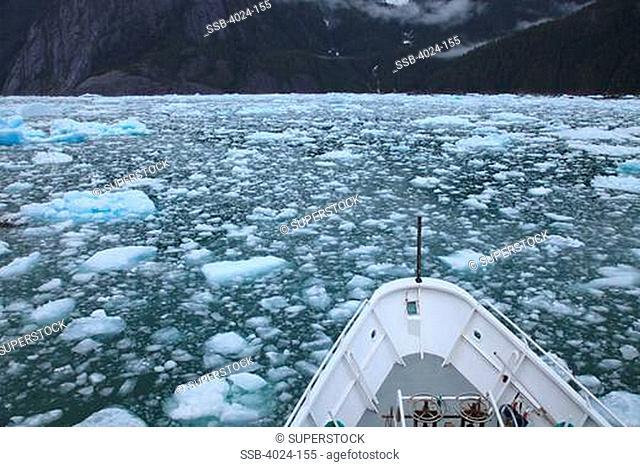 Ship in the sea, LeConte Glacier, Inside Passage, Alaska, USA