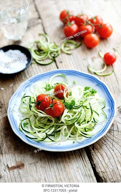 Spiralized courgettes with roasted vine tomatoes