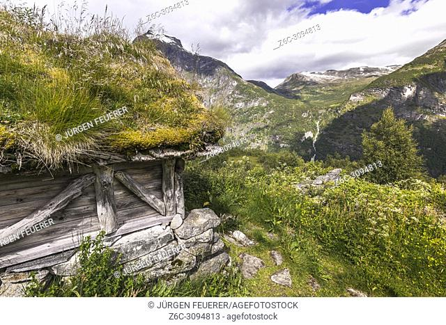 ancient alp huts of Homlongsetra, Norway, alpine huts of former mountain farmers