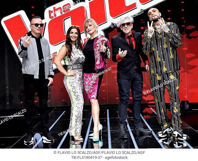(From left) Gigi D'Alessio, Elettra Lamborghini, Simona Ventura, Morgan, Gue' Pequeno during the photocall of tv show The voice of Italy, Milan