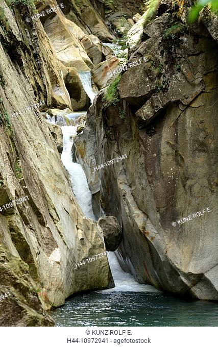 Gorge, river, Ticino, waterfall, La Gola de Monte Piottino, Rodi-Fiesso, Leventina, Alps, Canton, Ticino, Switzerland, Europe