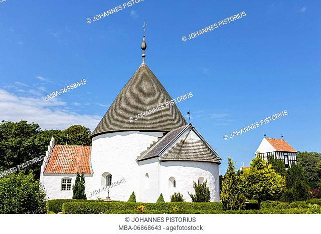 The Ny Kirke (12th century) in Nyker, on right side the freestanding bell tower, Europe, Denmark, Bornholm