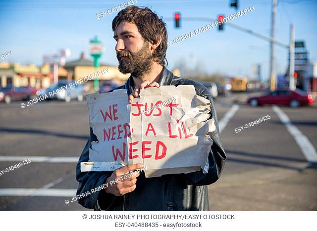 ALBANY, OR - DECEMBER 13, 2017: Transient male holds a cardboard sign that says we just need a lil weed on a corner in Albany Oregon where marijuana is legal...