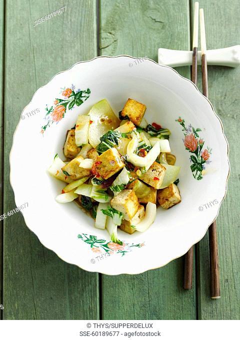 Fried tofu pak-choi cabbage