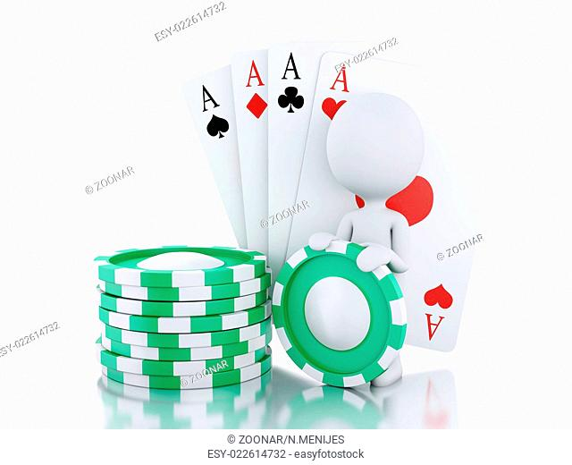 3d White people with casino tolkens and cards