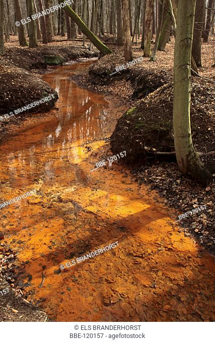 A brook with orange brown water, caused by ore in the ground