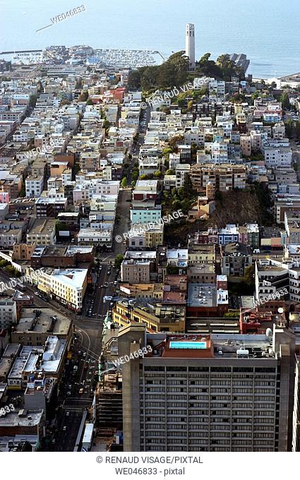 Aerial view of the city with Coit Tower in the background. San Francisco. California. United States