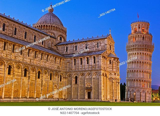 Pisa, Cathedral, Duomo, Leaning Tower at Dusk, Piazza del Duomo, Cathedral Square, Campo dei Miracoli, UNESCO world heritage site, Tuscany, Italy