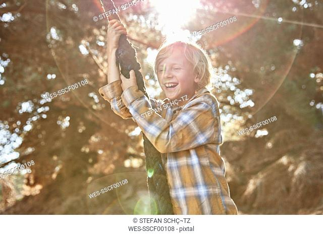 Happy boy swinging on a rope in backlight