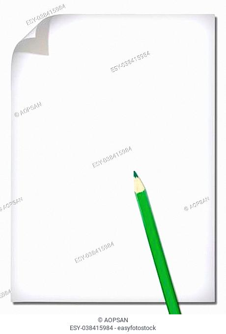 White paper and colored pencil isolated on white