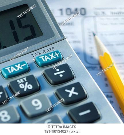 Close up of calculator