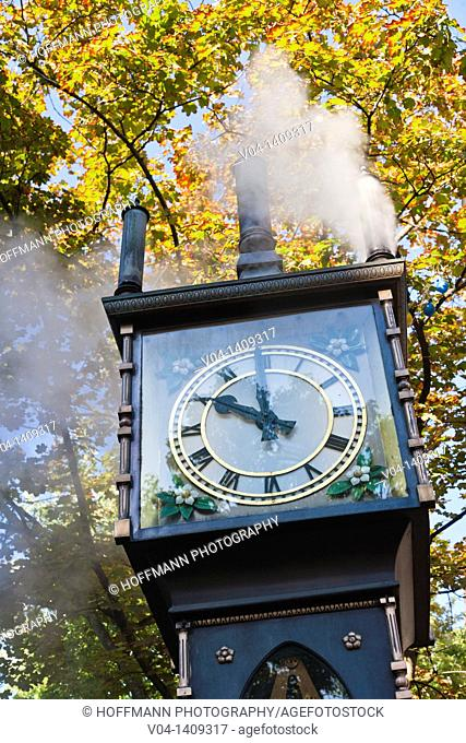 Close up of the historic steam clock, Vancouver, British Columbia, Canada