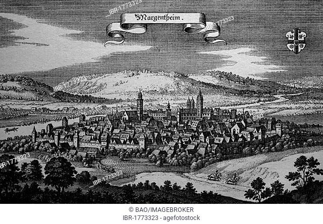 Bad Mergentheim, Germany, in the 17th century, historical steel engraving