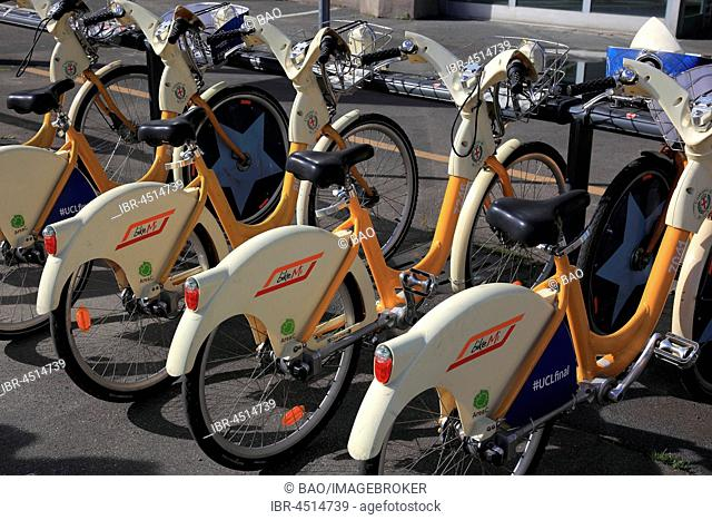 Rental bicycles, bike sharing, Parkstation, Milan, Italy