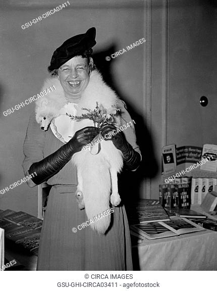 First Lady Eleanor Roosevelt being Presented with Orchid on her 55th Birthday, Washington DC, USA, Harris & Ewing, October 11, 1939