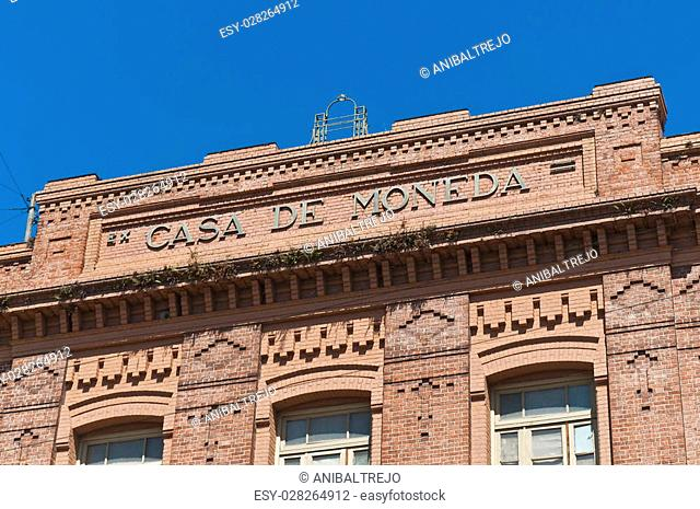 Former Casa de la Moneda facade on San Telmo neighborhood at Buenos Aires, Argentina